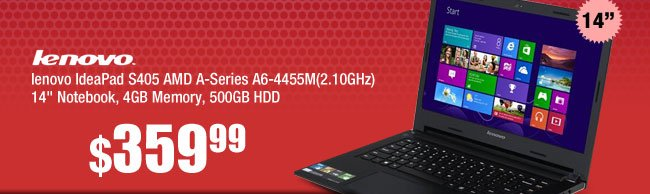 lenovo IdeaPad S405 AMD A-Series A6-4455M(2.10GHz) 14 inch Notebook, 4GB Memory, 500GB HDD
