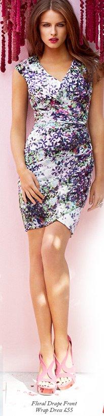 Floral Drape Front Wrap Dress