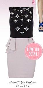 Embellished Peplum Dress