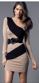 Assymetric Long Sleeve Panel Dress