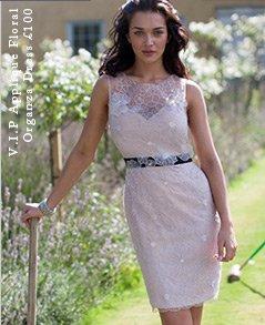 V I P Applique Floral Organza Dress