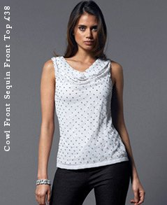 Cowl Front Sequin Front Top