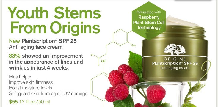 Youth Stems From Origins New Plantscription SPF 25 Anti aging face cream 83 percent showed an improvement in the appearance of lines and wrinkles in just 4 weeks Plus help improve skin frimness Boost moisture levels Safeguard skin from aging UV damage 55 dollars 1 7 fl oz 50 ml