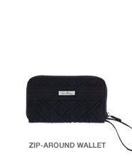 Zip-Around Wallet in Classic Black