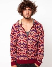 ASOS Zip Through Hoodie With Baroque Print