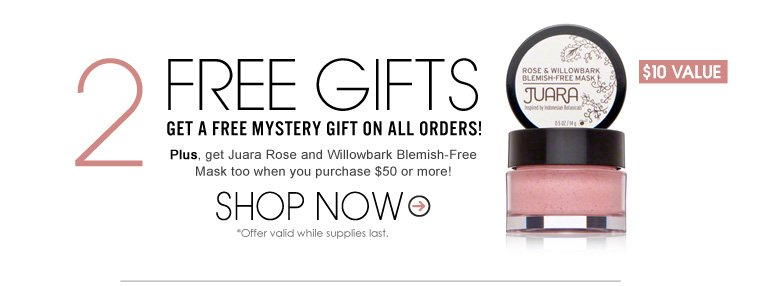 2 Free Gifts! Get a Free Mystery Gift on ALL orders! Plus, get Joey New York Bye Bye Blackheads Gentle Peel Cleanser And Shredded Coconut Scrub ($12 Value) too when you purchase $50 or more!  *Offer valid while supplies last. Shop Now>>