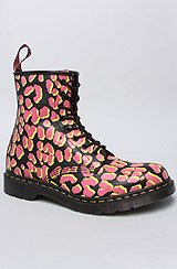 The 1460 W 8-Eye Boot in Black, Pink and Yellow Leopard