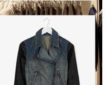 MOTO Premium Leather Sleeve Denim Biker Jacket