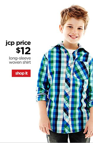 jcp price $12 | long-sleeve woven shirt | shop it