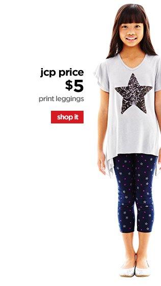 jcp price $5 | print leggings | shop it