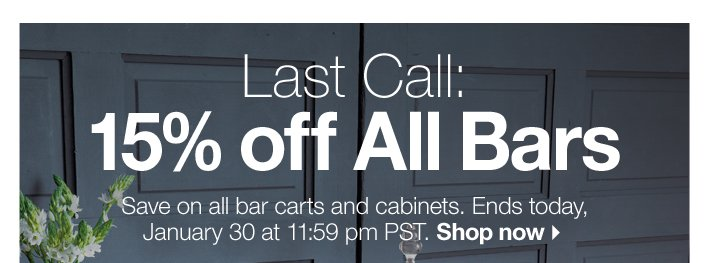 Last Call: 15% off All Bars