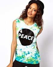 ASOS Vest in Tie Dye with Peace Sign