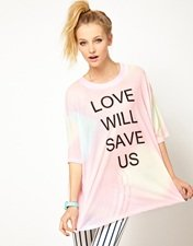 Wildfox Love Will Save Us Dipped Hem T Shirt