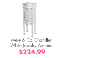 Mele & Co. Chandler White Jewelry Armoire $224.99