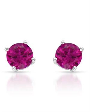 Ladies Ruby Earrings Designed In 10K White Gold