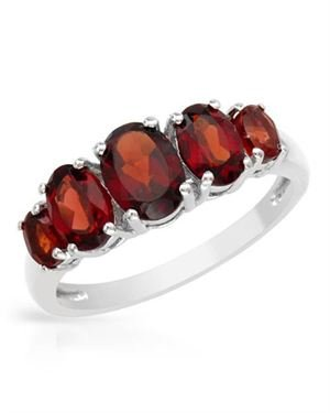 Ladies Garnet Ring Designed In 925 Sterling Silver