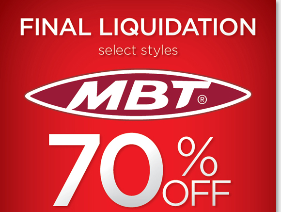 Save up to 70% on your favorite MBT styles for women and men during our FINAL Liquidation Sale! MBT offers active, stylish footwear inspired by nature, and is created using superior materials and craftsmanship. Shop now for the best selection online and in-stores at The Walking Company.