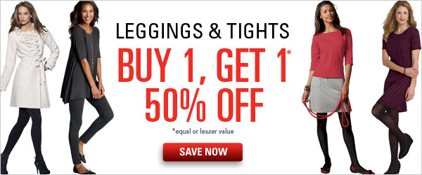 Leggings & Tights: Buy 1, Get 1 50% off