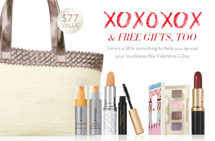 XOXOXOX & FREE GIFTS, TOO. Here's a little something to help you spread your loveliness this Valentines's Day. $77 VALUE.