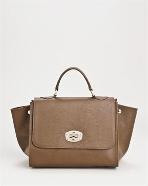 Bright Genuine Leather Flap Closure Satchel - Made In Italy $109