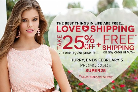 Take 25% off any single regular price item plus FREE SHIPPING on any order of $75+ with promo code SUPER25. Click to shop New Arrivals