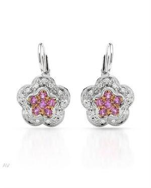 Ladies Diamond Earrings Designed In 14K Two Tone Gold $409