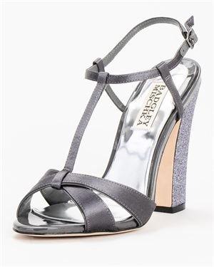Badgley Mischka T-Strap & Glitter Heel Solid Color Sandals $59