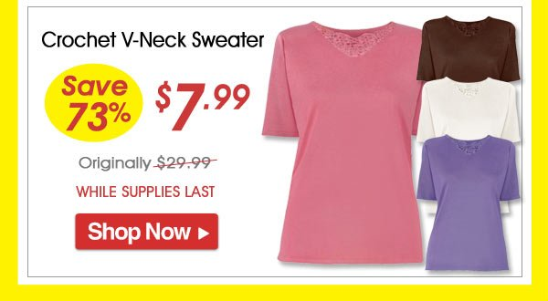 Crochet V-Neck Sweater - Save 73% - Now Only $7.99 Limited Time Offer