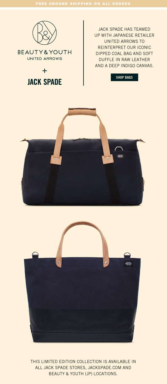 beauty & youth united arrows and jack spade.  shop bags.