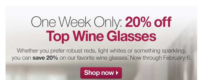 One Week Only: 20% off Top Wine Glasses