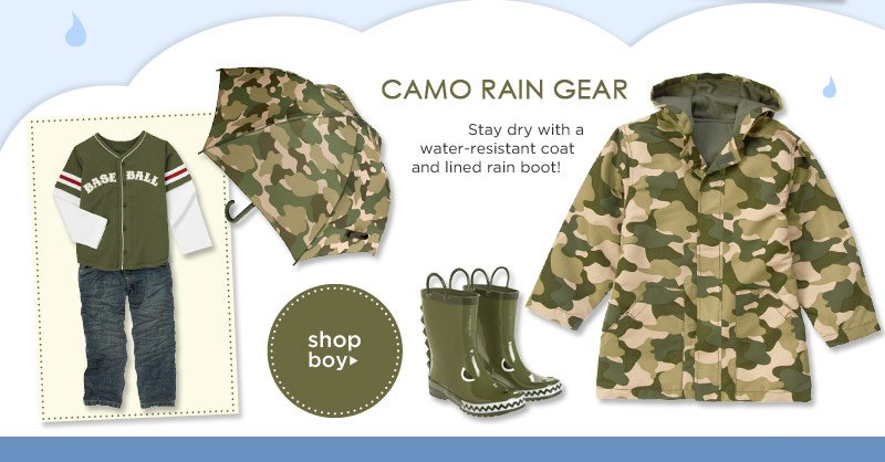 Camo Rain Gear. Stay dry with a water-resistant coat and lined rain boot! Shop Boy