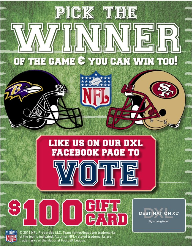PICK THE WINNER OF THE GAME & YOU CAN WIN TOO! LIKE US ON OUR DXL FACEBOOK PAGE TO VOTE