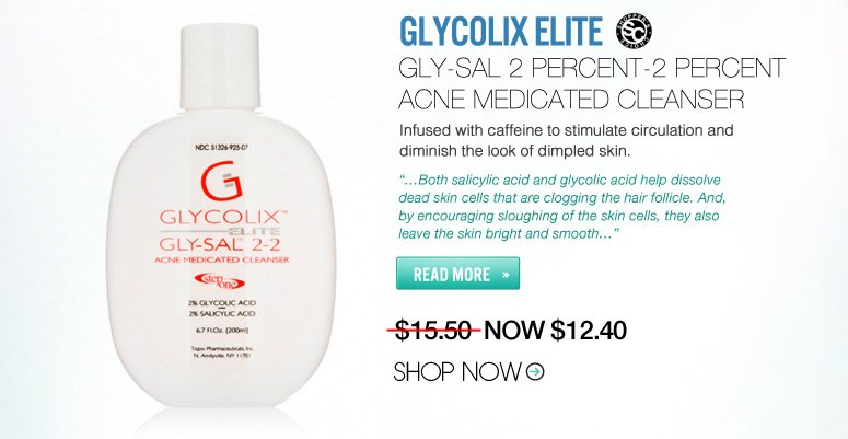 "Shopper's Choice Glycolix Elite Gly-Sal 2 Percent-2 Percent Acne Medicated Cleanser Combines glycolic and salicylic acids to treat problematic, acneic, sensitive and oily skin. ""…Both salicylic acid and glycolic acid help dissolve dead skin cells that are clogging the hair follicle. And, by encouraging sloughing of the skin cells, they also leave the skin bright and smooth…"""