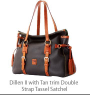 Dillen II with Tan trim Double Strap Tassel Satchel