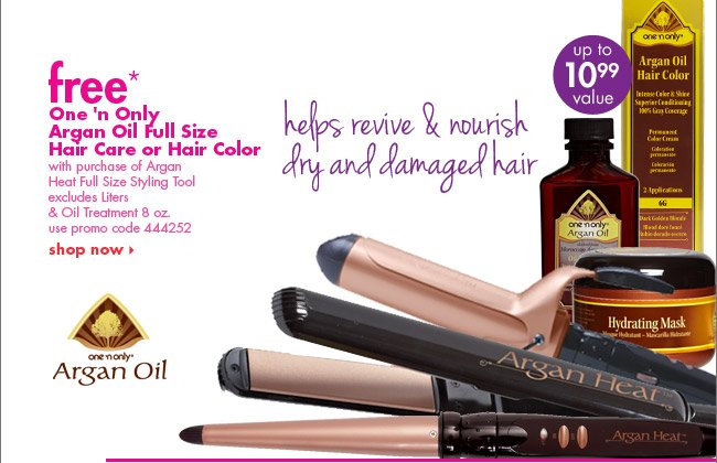 free* One 'n Only Argan Oil Full Size Hair Care or Color with purchase Argan Heat full size styling tool
