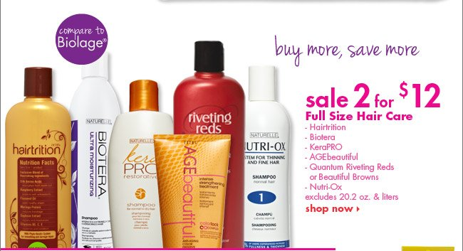 sale 2 for $12 select full size hair care