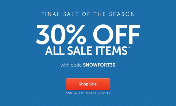 Final Sale of the Season: 30% off sale items