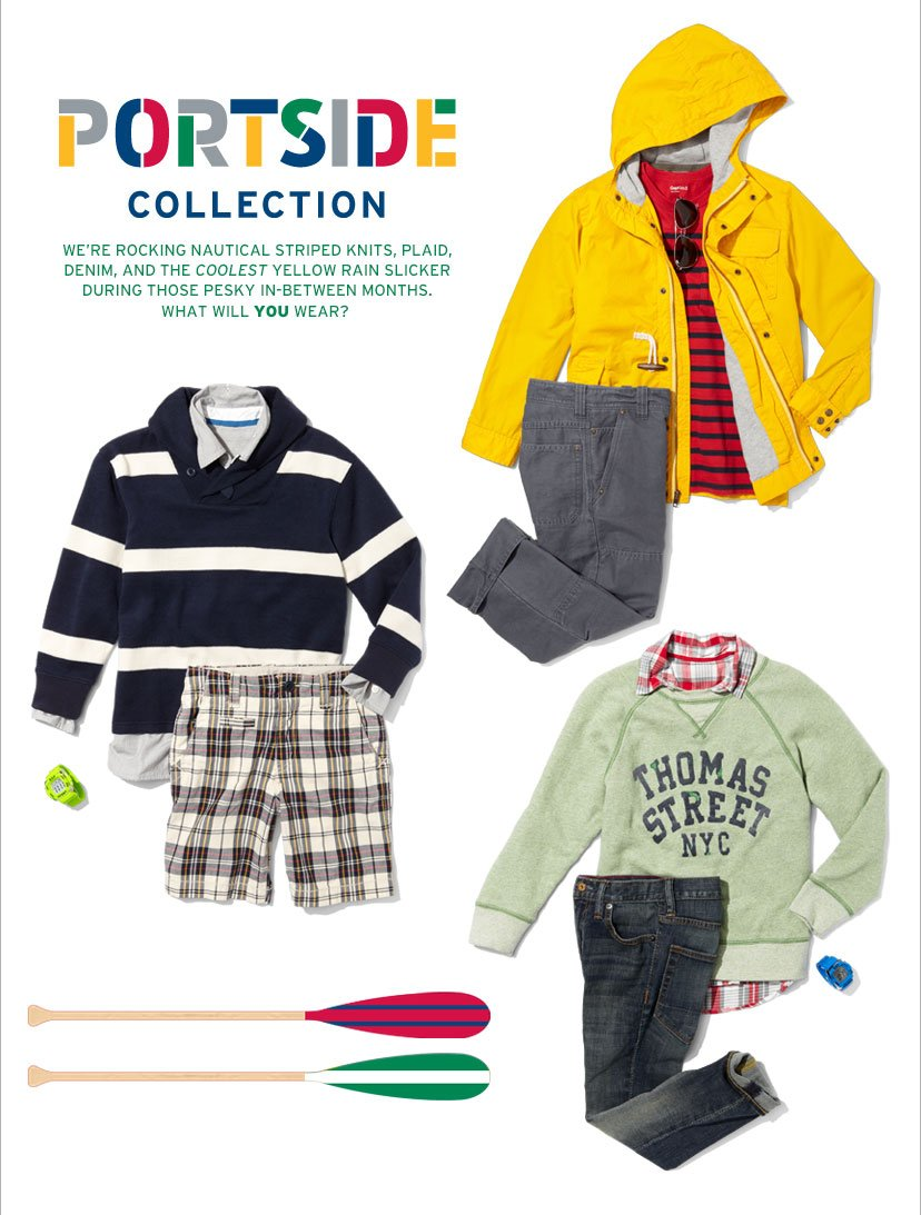 PORTSIDE COLLECTION | WE'RE ROCKING NAUTICAL STRIPED KNITS, PLAID, DENIM, AND THE COOLEST YELLOW RAIN SLICKER DURING THOSE PESKY IN-BETWEEN MONTHS. | WHAT WILL YOU WEAR?