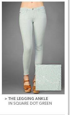 The Legging Ankle in Square Dot Green