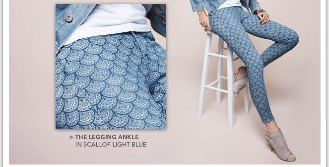 The Legging Ankle in Scallop Light Blue