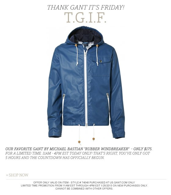 Gant by Michael Bastian Rubber Windbreaker now only $175