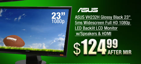ASUS VH232H Glossy Black 23 inch 5ms Widescreen Full HD 1080p LED Backlit LCD Monitor w/Speakers & HDMI