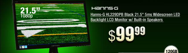 Hanns-G HL229DPB Black 21.5 inch 5ms Widescreen LED Backlight LCD Monitor w/ Built-in Speakers