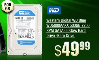 Western Digital WD Blue WD5000AAKX 500GB 7200 RPM SATA 6.0Gb/s Hard Drive -Bare Drive