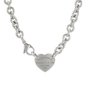 Tiffany & CO. Sterling Silver Return to Tiffany Heart Tag Necklace $259