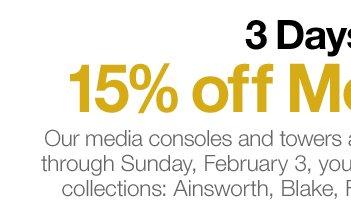 3 Days Left: 15% off Media Event