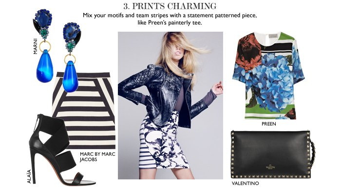 PRINTS CHARMING –  Mix your motifs and team stripes with a statement patterned piece, like Preen's painterly tee.