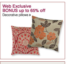 Web Exclusive BONUS up to 65% off Decorative pillows.