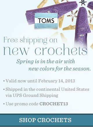 Free shipping on new crochets