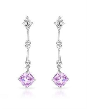 Ladies Diamond Earrings Designed In 14K White Gold $65